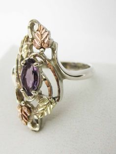 Sterling silver ring with Amethyst marquise by UpYourAlleyGifts