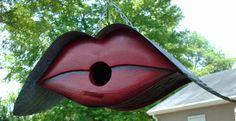AMAZING Red LIPS Birdhouse by MikeMerritArt on Etsy, $125.00