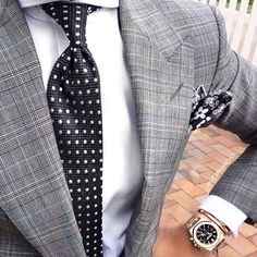 Men's #Fashion: Shades of black and white... Love the watch.