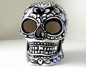 Sugar Skull Lantern Day of the Dead Ceramic Candle Holder