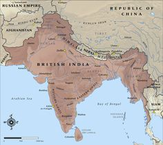 Map of British India at the time it entered the First World War History Of India, History Online, Asian History, Modern History, British History, Tudor History, Ancient History, India World Map, India Map