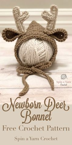Baby Knitting Patterns Newborn Newborn Deer Bonnet – Spin a Yarn Crochet Crochet Deer, Crochet Baby Hats, Crochet Beanie, Crochet For Kids, Crochet Yarn, Baby Knitting, Booties Crochet, Newborn Crochet Hat Girl, Crocheted Hats