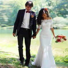>> Click to Buy << White Lace Mermaid Wedding Dresses Tulle with Half Sleeve vestidos de novia robe de mariage weddingdress Wedding Gowns #Affiliate