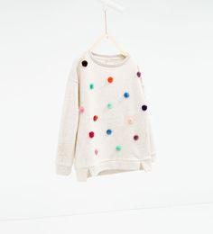 Pompoms sweatshirt-SWEATSHIRTS-GIRL | 4-14 years-KIDS | ZARA United States