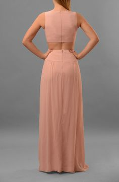 Queen of the Night bridesmaid dress by Nicole Miller in blush (back detail)