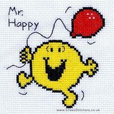 Cross stitch mr. happy  - تطريز وجه سعيد Mr Men, Little Miss, Tweety, Cross Stitch Patterns, Happy Things, Crafts, Fictional Characters, Stitches, Craft Ideas