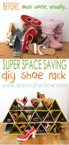 SUPER space saving and surprisingly sturdy DIY shoe rack! | A Piece of Rainbow