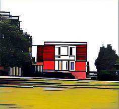 Iluustration, drawing, digital art, house, landscape, animation