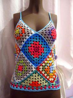 Débardeurs Au Crochet, Hippie Crochet, Crochet Quilt, Crochet Granny, Irish Crochet, Crochet Stitches, Crochet Patterns, Crochet Summer Tops, Crochet Baby Booties