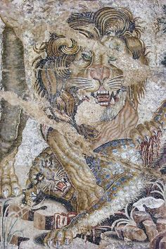 Mosaic of a Lion and a Leopard from the House of the Doves in Pompeii Roman 1st century BCE-1st century CE | Flickr - Photo Sharing!