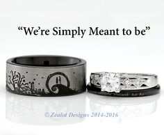 Nightmare Before Christmas His and Her's 3piece Engagement SET