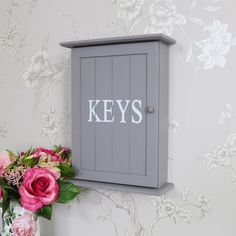 Grey Wall Mounted Wooden Key Cabinet - Melody Maison®️️ - Grey Wall Mounted Wooden Key Cabinet, key storage, wall cabinet, wall mounted, free standing, magnetic closing, hooks, key hooks, home, wall, shabby chic, vintage, country, retro