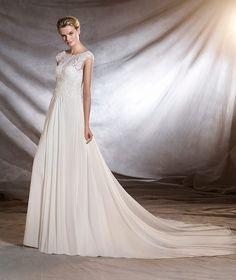 ORSINI - Vestido de noiva de gaza, estilo evasê e decote em barco
