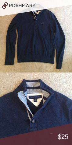 Men's Tommy Hilfiger pullover Size small. Great condition. Navy blue knit. Tommy Hilfiger Sweaters