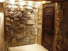 Secret door in cultured stone wall :: closed, pic 1 of 2