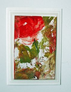 signed and dated ORIGINAL Art Card Abstract Floral by StudioSabine, $12.50