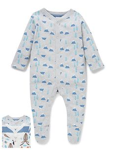 3 Pack Forest Theme Sleepsuits | M&S
