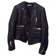 Black Leather Biker jacket BALENCIAGA (€1.300) ❤ liked on Polyvore featuring outerwear, jackets, tops, leather jacket, leather motorcycle jacket, black biker jacket, leather biker jacket and motorcycle jacket