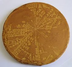 "reproduction of a Sumerian star map or ""planisphere"" recovered from the 650BC underground library of Ashurbanipal in Nineveh, Iraq in the late 19th century. Long thought to be an Assyrian tablet, computer analysis has matched it with the sky above Mesopotamia in 3300BC and proves it to be of much more ancient Sumerian origin. The tablet is an ""Astrolabe"", the earliest known astronomical instrument. It usually consisted of a segmented, disc shaped star ."