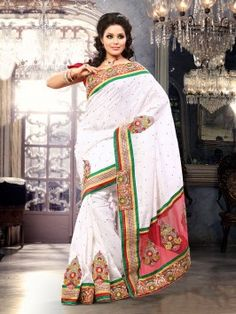 White Bhagalpuri Jacquard Silk Saree With Patch Work www.saree.com