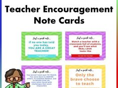 Boost teacher and staff morale with these encouragement cards. These cards include inspirational quotes to motivate teachers and inspire them to continue t. Message For Teacher, Love Teacher, Teacher Notes, School Resources, Teaching Resources, Staff Morale, High School Classroom, Mindfulness Activities, New Teachers