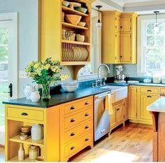 Eco-friendly milk paint on Shaker-inspired cabinets - Yellow Kitchen cabinets decor ideas open shelves Farmhouse Kitchen Cabinets, Custom Kitchen Cabinets, Painting Kitchen Cabinets, Kitchen Cabinet Design, Kitchen Paint, New Kitchen, Kitchen Ideas, Kitchen Wood, Kitchen Modern