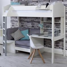 Stompa Casa C High Sleeper with Sofa Bed, Desk & Shelf Stompa Casa C Hochbett mit Schlafsofa, Schrei Loft Beds For Small Rooms, Loft Beds For Teens, Bunk Beds For Girls Room, Modern Bunk Beds, Cool Bunk Beds, Bed Rooms, Bed Ideas For Kids, Adult Loft Bed, Girl Rooms