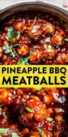 Pineapple BBQ Meatballs are delicious homemade meatballs smothered in a quickly made from scratch pineapple BBQ sauce. Serve them over rice with an Asian-inspired coleslaw for a healthy family meal. | #groundbeefrecipes #groundbeefdinner #easydinner #dinnerideas #meatballs #recipe #easyrecipe #familydinner #easydinnerrecipes #dinnerrecipe