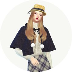SIMS4 marigod: female_hood cape coat_후드 케이프 코트_여성 의상