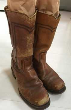 9a3c3bf13df 1970s Distressed Leather Campus Boots Women s Size 9