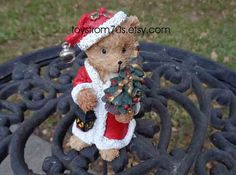 Teddy bear figurine collectible/ Secret Santa gift by toysfrom70s