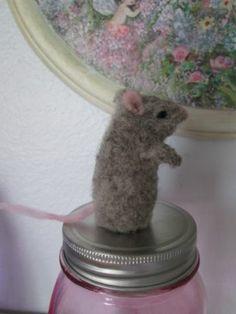 ooak Artist Needle felted Finger Puppet ~ Mouse ~Angelsdoor ~