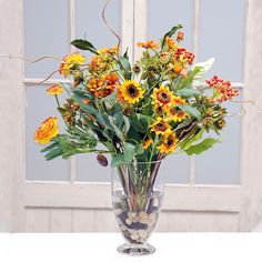 Jane Seymour Botanicals Autumn Harvest Bouquet In Footed Glass 23-inch Vase (Autumn Harvest Bouquet In Footed Glass Vase 23), Yellow