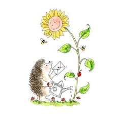 Sunflower Stamp Sunny Days Rubber Stamp (Penny Black Woodblock Craft Stamp) Hedgie Stamp • Hedgehog Stamp • Happy Stamp • Gardening (4055K) Penny Black Cards, Penny Black Stamps, Hedgehog Art, Cute Hedgehog, Hedgehog Illustration, Cute Illustration, Custom Stamps, Watercolor Cards, Illustrations