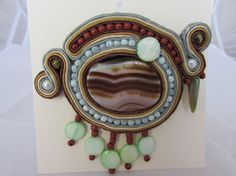 Brown - light-green with agate stone brooch soutache