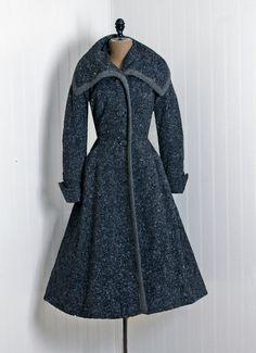 Wool portrait-collar coat