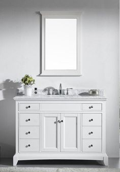48 Inch Carrara White Marble Top Bathroom Vanity By Infurniture