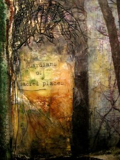 """""""Book of Trees""""  detail of encaustic and mixed media page on plaster    Bridgette Guerzon Mills"""