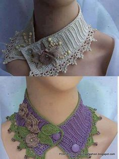 So pretty. I don't know if there's a pattern at the link, but it's a good look to reproduce using whatever crocheted embellishments I want. I love the beads on the picot ends. --Pia (Crochet)
