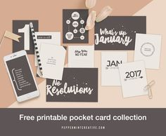 Free printable pocket cards #digiscrap #projectlife #newyear