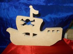 Childrens Pirate ship shape 18mm MDF boat, skull and crossbones