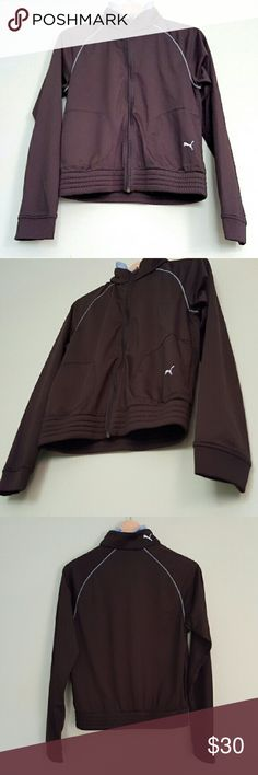 Puma Track Zip Up Jacket Size L This jacket was only worn a few times and is in good used condition overall. There is a small tear in the seam on the back of the neck that is not noticeable when worn and could be stitched up. Size large (but Puma runs small, so it's more like a medium). Puma Jackets & Coats Utility Jackets