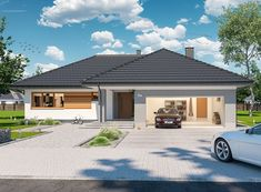 DOM.PL™ - Projekt domu ARP PADME 3 B CE - DOM AP2-36 - gotowy koszt budowy Bungalow Style House, Cottage Style Homes, Village House Design, Village Houses, Construction Design, Modern House Plans, My House, Building A House, Outdoor Decor