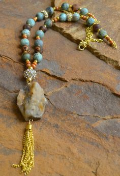 African Turquoise Druzy Tassel Necklace