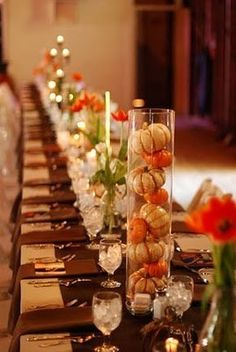 Tablescape #Fall #Wedding … Wedding #ideas for brides, grooms, parents & planners https://itunes.apple.com/us/app/the-gold-wedding-planner/id498112599?ls=1=8 … plus how to organise an entire wedding, within ANY budget ♥ The Gold Wedding Planner iPhone #App ♥ For more inspiration http://pinterest.com/groomsandbrides/boards/  #autumn #fall #ceremony #reception #bouquets #cake #rings #orange #brown #yellow