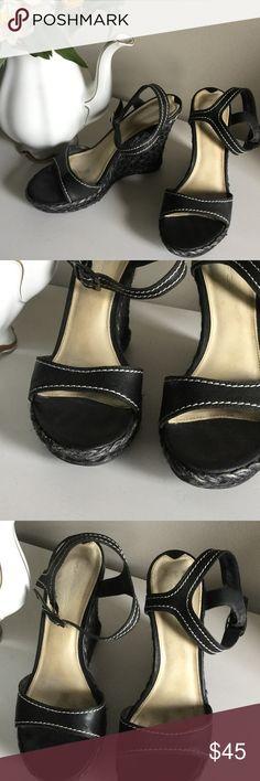 Via Spiga Jute Wedge Heel Sandals VIA SPIGA black Woven Jute Wedge Heel Sandals with black and white stitching in good pre-owned condition! Via Spiga Shoes Wedges