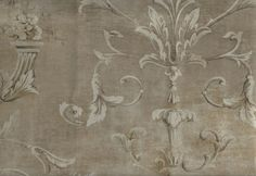 Wallpaper Designer Floral Scroll Taupe Pewter Bronze Faux