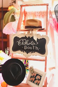 diy photo booth // use a rustic ladder to display the props and hang a sign! love it!
