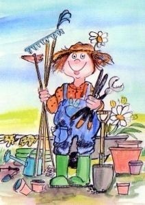 Come on spring ,i am ready to garden! Cute Illustration, Character Illustration, Painting For Kids, Painting & Drawing, Garden Works, Small Paintings, Digi Stamps, Whimsical Art, Various Artists