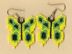Beaded Yellow Butterfly Earrings